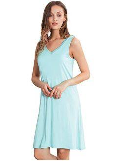 WiWi Women's Bamboo Sleeveless Nightgowns Soft Pajamas Sleep Dress V Neck Sleepshirt S-4X
