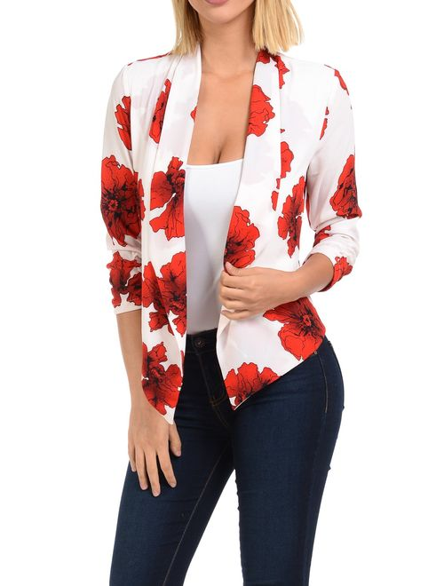 Auline Collection Womens Floral Casual Lightweight 3/4 Sleeve Fitted Open Blazer