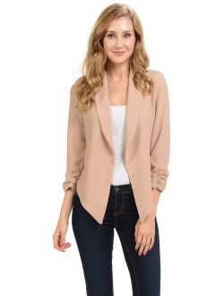 Auline Collection Womens 3/4 Sleeve Casual Work Lined Open Front Cardigan Blazer