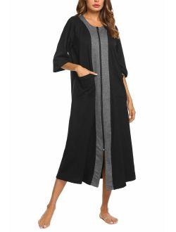 Women Zipper Robe Half Sleeve Loungewear Full Length Nightgown Duster Housecoat With Pockets S-xxl