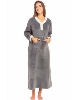 Women's Warm Fleece Nightgown, Long Kaftan With Pockets