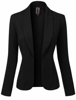 MixMatchy Women's Solid Print Casual Waist Length Open Front Blazer Jacket [ Made in USA ]