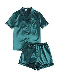 Women's Short Sleeve Sleepwear Button Down Satin 2 Piece Pajama Set