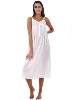 Womens 100% Cotton Lawn Nightgown, Long Tank Top Chemise