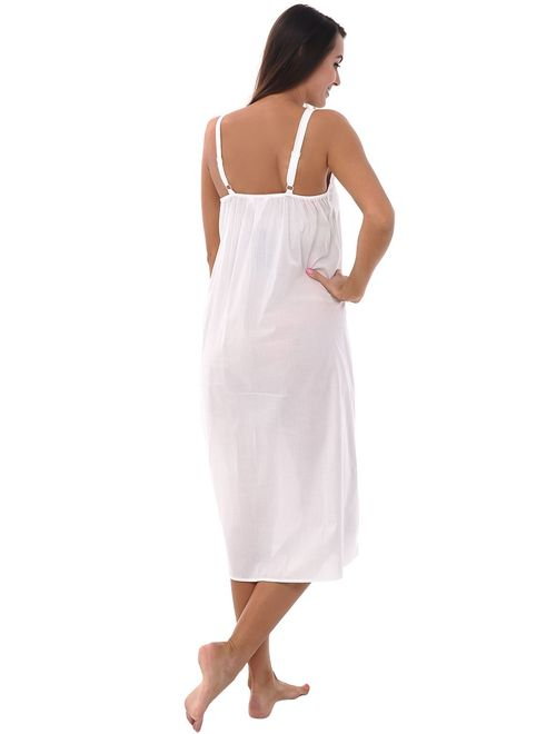 Alexander Del Rossa Womens 100% Cotton Lawn Nightgown, Long Tank Top Chemise