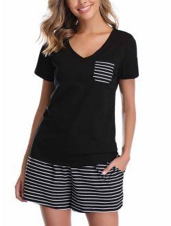 Vlazom Women's Pajama Sets V-Neck Short Sleeve Summer Pjs Set Striped Solid Sleepwear with Pockets