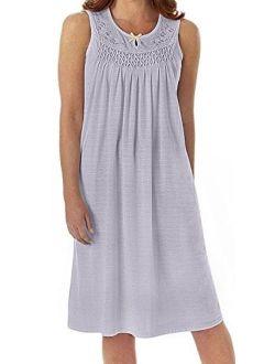 Ezi Women's Cotton Sleeveless Nightgown