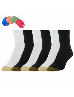 Women's 6 Pack Turn Cuff Socks / 6 Free Sock Clips Included ($5 Value)