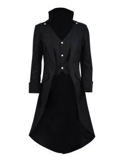 Very Last Shop Mens Gothic Tailcoat Jacket Black Steampunk Victorian Long Coat Halloween Costume