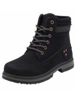Women's Round Toe Waterproof Lace Up Work Combat Boots Low Heel Ankle Booties