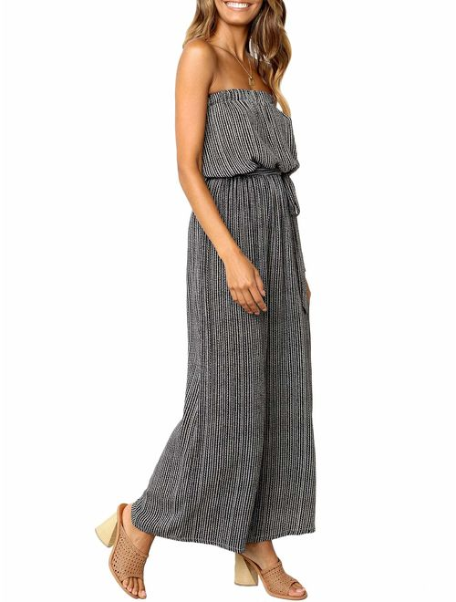 Miessial Women's Sexy Romper Off Shoulder Jumpsuit Casual Strapless Wide Leg Pants Jumpsuit