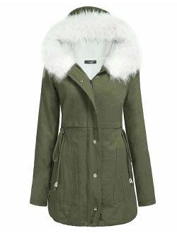 Women Hooded Warm Long Coats Faux Fur Lined Parka Anroaks Outdoor Jackets