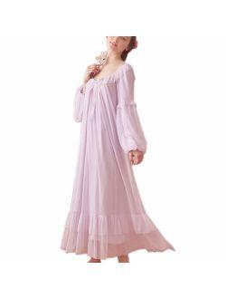 Women's Vintage Victorian Nightgown Long Sleeve Sheer Sleepwear Pajamas Nightwear Lounge Dress
