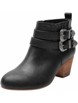Luoika Women's Wide Width Ankle Boots - Side Zipper Metal Flower Buckle Strap Mid Chunky Block Heel Booties.