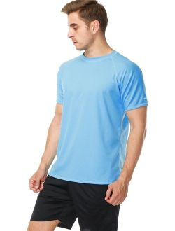 anfilia Men's Rash Guard Short Sleeve Swim Shirts Sportwear Loose Fit UPF 50+