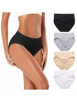Molasus Women's 100% Cotton Underwear Soft Breathable Full Coverage Briefs Panties Ladies Underpants 4 Pack