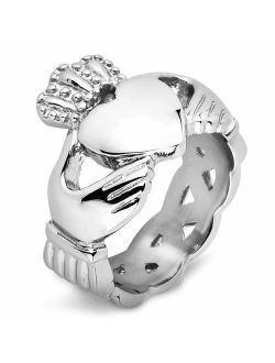 West Coast Jewelry Stainless Steel Irish Claddagh with Celtic Knot Eternity Design Ring - Sizes 5-13