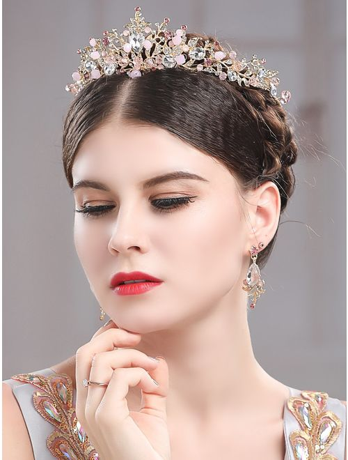 Yean Gold Wedding Crown Bridal Tiaras with Earrings Pink Purple Headband for Women and Girls (Pink)