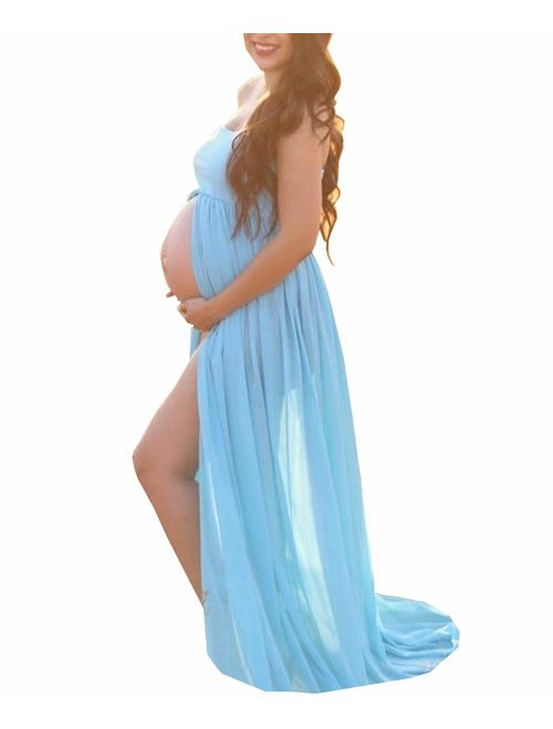 BathGown Maternity Dress for Photography Off Shoulder Chiffon Gown Split Front Maxi Pregnancy Dresses for Photoshoot
