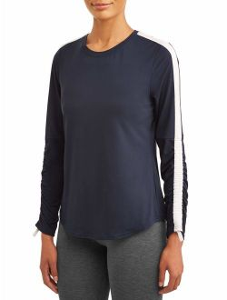 Women's Active Performance Crewneck Ruched Long Sleeve T-shirt