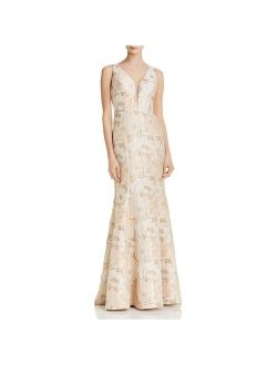 Aidan Mattox Womens Metallic Brocade Formal Dress