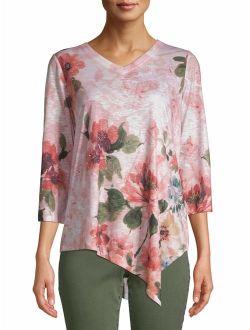 Women's 3/4 Sleeve Asymmetrical Hem Sublimation Top