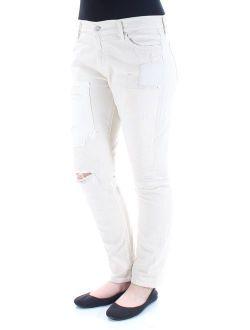 Ralph Lauren Womens Beige Frayed Distressed Jeans Size: 26 Waist