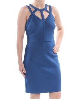 Womens Blue Darted Zippered Cut Out Sleeveless Halter Above The Knee Sheath Evening Dress Size: 14