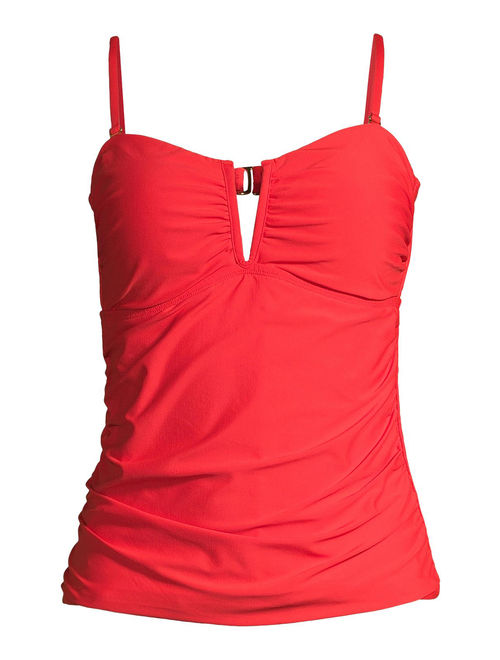 Time and Tru Women's Red V Wire Solid Tankini Swimsuit Top