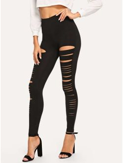 Ripped Solid Leggings
