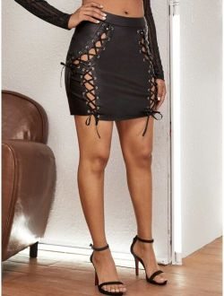 Grommet Eyelet Lace Up Front PU Leather Skirt