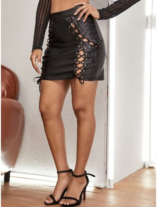 Shein Grommet Eyelet Lace Up Front PU Leather Skirt
