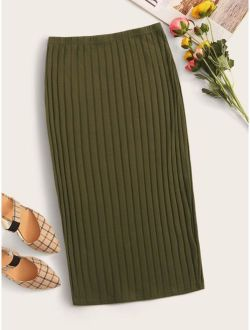 Rib-knit Solid Pencil Skirt