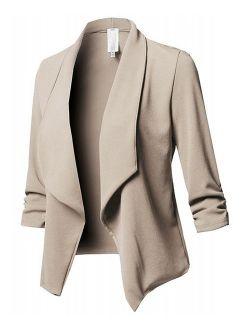 HIMONE Classic Draped Open Front Blazer for Womens Lightweight 3/4 Sleeve Cardigan Jacket Work Office Blazer S-5XL