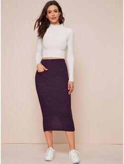 Slit Hem Rib-knit Pencil Skirt