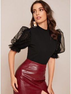 Keyhole Back Lace Puff Sleeve Sequin Detail Top