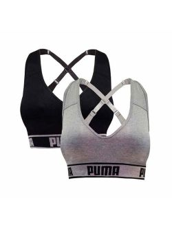 Women's Seamless Sports Bra Removable Cups - Adjustable Straps Moisture Wicking (2 Pack)
