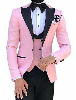 Sxfashbrd Men's Suits Slim Fit Jacket Blazer Vest Pants 3 Piece Sets Notch Lapel Modern African Tuxedos Groomsmen Dress