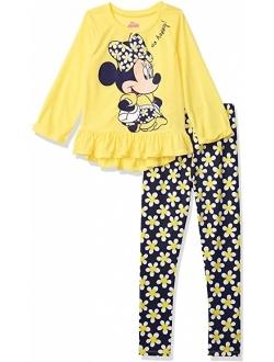 Minnie Mouse Girls' Long Sleeve Peplum Top & Legging Set