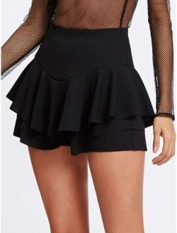 Flounce Layered Skirt Shorts