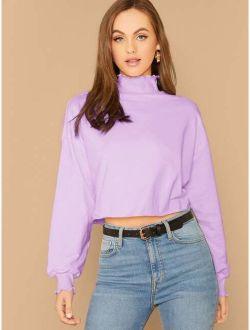 Lettuce Trim Mock-Neck Crop Pullover
