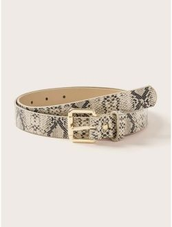 Snakeskin Pattern Buckle Belt