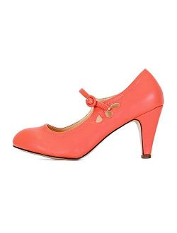 Guilty Heart Womens Mary Jane Mid Kitten Heel Pumps - Comfortable Chunky Heel with Ankle Strap
