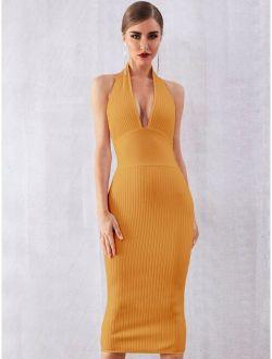 Adyce Plunge Neck Rib-knit Bodycon Dress
