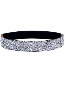 ALAIX Women's Stretchy Dress Belts Sparkle Bling Rhinestone Shiny Party Belt Elastic Waist Belt