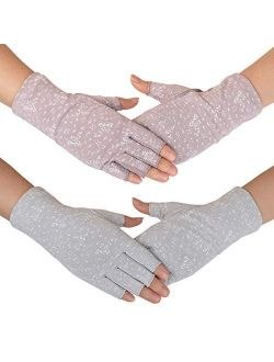 Flammi Women's Fingerless Sun Gloves Non Skid Cotton Driving Gloves UV Protection