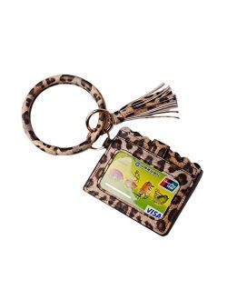 Lantintop Multifunctional Bangle Key Ring Card Holder PU Leather Round Keychain Wallet With Matching Wristlet For Women Girls