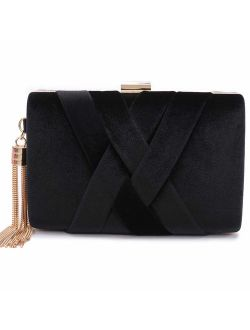 CARIEDO Women's Evening Clutch Bag Stain Fabric Brid al Purse for Wedding Prom Night out Party