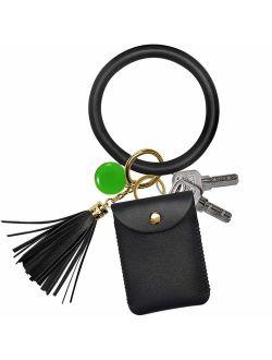 Keychain Wallet Bracelet, COCASES Key Ring Bracelet and Credit Card Pocket Leather Tassel Wrist Bangle Key Chains for Women Girl