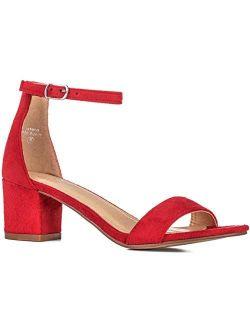 ILLUDE Women's Fashion Ankle Strap Kitten Heel Sandals - Adorable Cute Low Block Heel - Jasmine